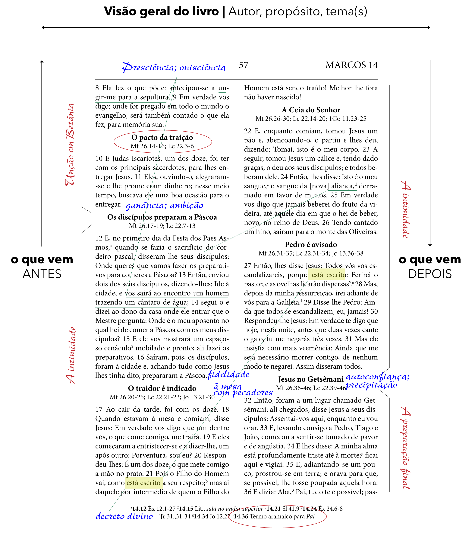 Uma página anotada da Bíblia